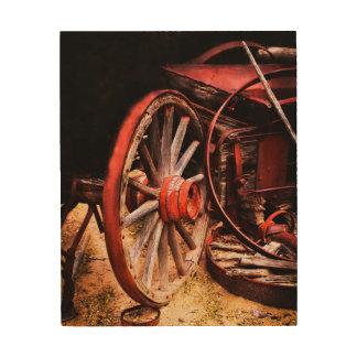 Red Wagon Wheel Wood Print