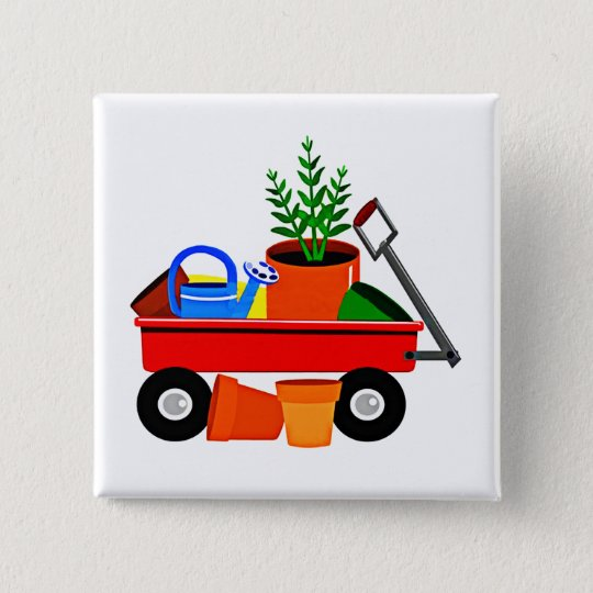 Red Wagon with Plants & Garden Tools 15 Cm Square Badge