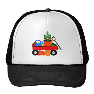 Red Wagon with Plants Garden Tools Trucker Hats