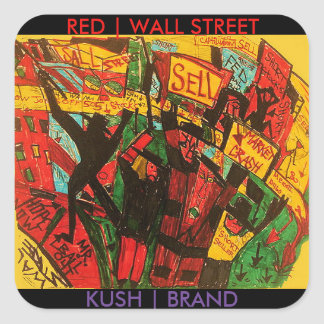 RED WALL STREET KUSH BRAND SQUARE STICKER