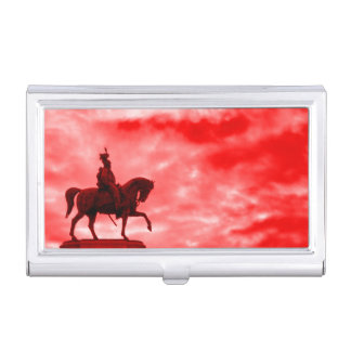 Red War Horse Ancient Roman Soldier Statue Surreal Business Card Holder