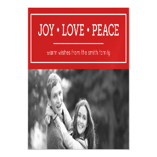 Red Warm Wishes Joy Love Peace Holiday Photo Magnetic Invitations
