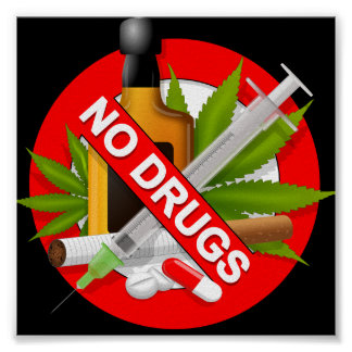 Red Warning Sign with Drugs Poster