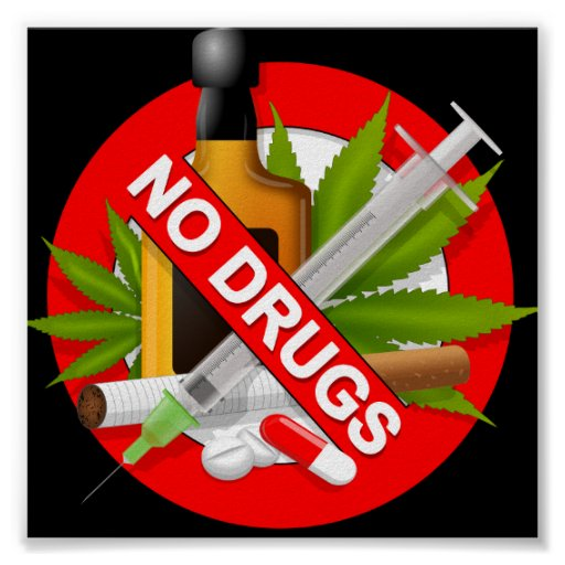 Red Warning Sign with Drugs Posters