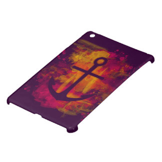 Red watercolor anchor on dark iPad mini cover