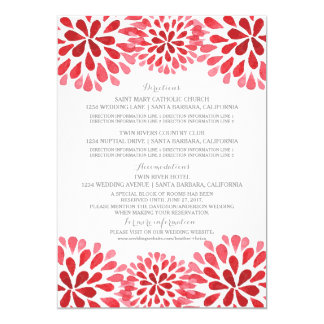 Red Watercolor Chrysanthemum Information Card