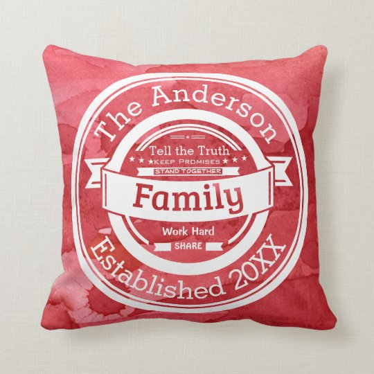 Red Watercolor Family Rules, Name Year Established Cushion