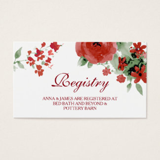 Red Watercolor Floral Wedding Registry Card