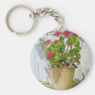 Red watercolor geranium key ring