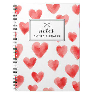 Red Watercolor Hearts Pattern Personalized Spiral Notebook