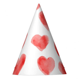 Red Watercolor Hearts Pattern Valentine's Day Party Hat