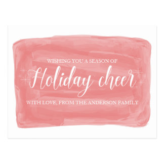 Red Watercolor Holiday Cheer Postcard