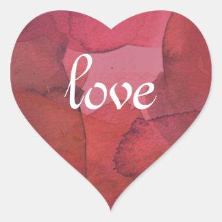 Red Watercolor Love Heart Heart Sticker