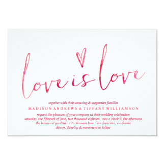 Red Watercolor Love is Love Gay Wedding 13 Cm X 18 Cm Invitation Card