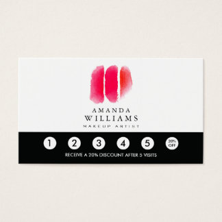 Red Watercolor Makeup Artist Swatches Loyalty Business Card