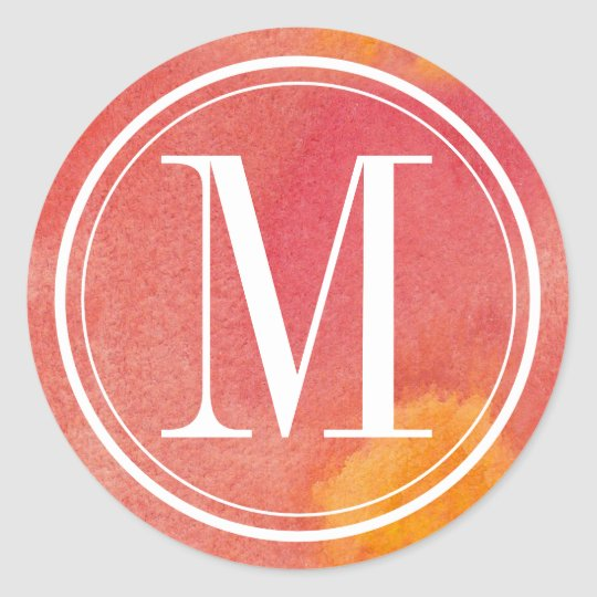 Red Watercolor Monogram Classic Round Sticker