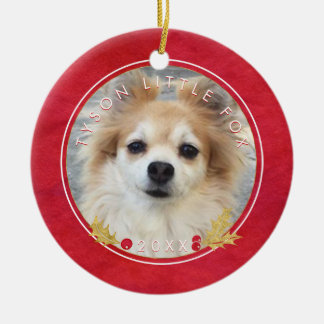 Red Watercolor PET PHOTO Merry Little Christmas Christmas Ornament