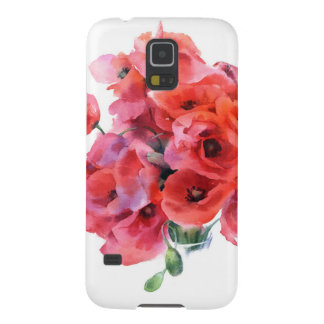 Red watercolor poppies case galaxy s5 case