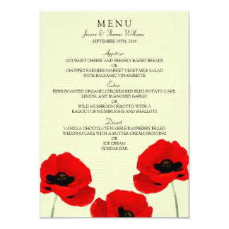 Red Watercolor Poppies Floral Wedding Collection 11 Cm X 16 Cm Invitation Card