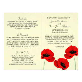 Red Watercolor Poppies Floral Wedding Collection 21.5 Cm X 28 Cm Flyer