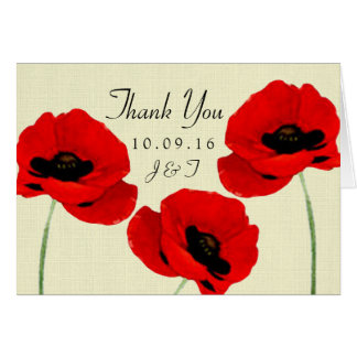 Red Watercolor Poppies Floral Wedding Collection Card