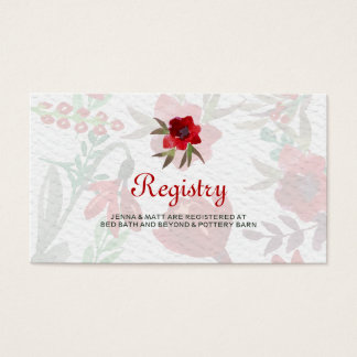 Red Watercolor Tulips Wedding Registry Card