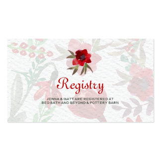 Red Watercolor Tulips Wedding Registry Card Pack Of Standard Business Cards