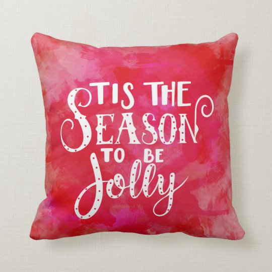 Red Watercolor White Typography Christmas Pillow