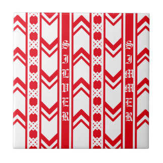 Red wave lace tile