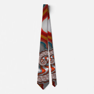 Red Waves 2 Abstract Fine Fractal Art Tie