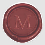 Red Wax Monogram Classic Wedding Favour Red Seal Round Sticker