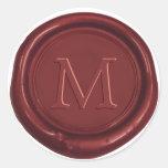 Red Wax Monogram Classic Wedding Favour Red Seal Round Sticker