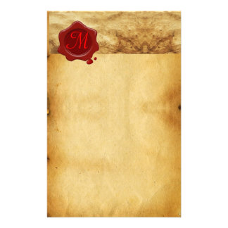RED WAX SEAL PARCHMENT Monogram Personalized Stationery