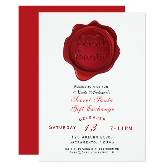 Red Wax Seal Secret Santa Holiday Christmas Party