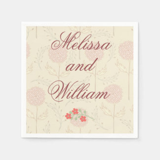 Red Wedding Flowers Disposable Napkin