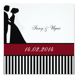 Red wedding invitation of pair of weddings