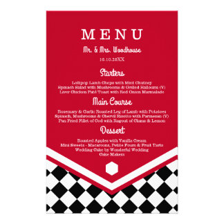 Red Wedding Menu with Black Checkered Pattern 14 Cm X 21.5 Cm Flyer