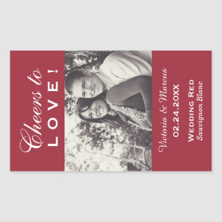 Red Wedding Photo Wine Bottle Favor Rectangular Sticker