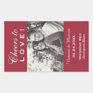 Red Wedding Photo Wine Bottle Favor Rectangular Sticker
