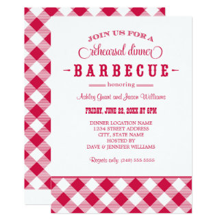 Red Wedding Rehearsal Dinner   Casual BBQ 13 Cm X 18 Cm Invitation Card