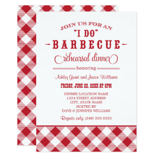 Red Wedding Rehearsal Dinner   I Do BBQ 13 Cm X 18 Cm Invitation Card