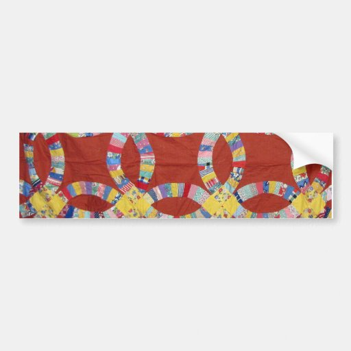 Red Wedding Ring Quilt Bumper Stickers