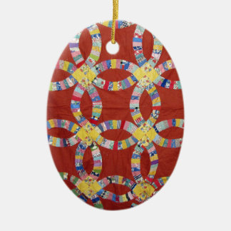 Red Wedding Ring Quilt Christmas Ornament