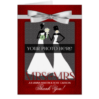 Red Wedding Thank You from Two Brides Greeting Card