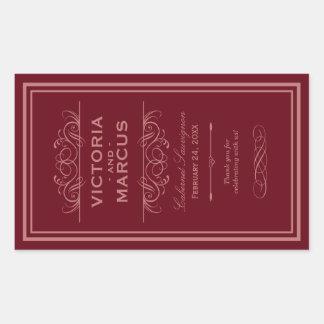 Red Wedding Wine Bottle Monogram Favor Labels