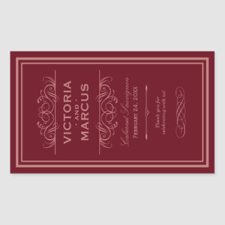Red Wedding Wine Bottle Monogram Favor Labels Rectangular Sticker