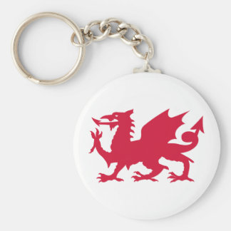 Red Welsh Dragon Basic Round Button Key Ring