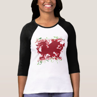 "Red Welsh Dragon Ladie's 3/4"" Raglan Shirt"