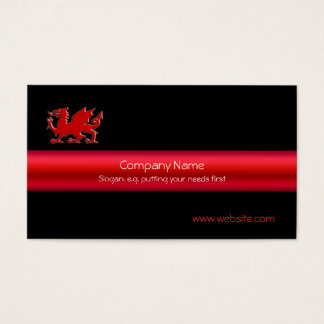 Red Welsh Dragon on black, and metallic-look strip
