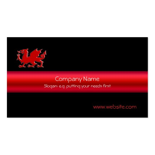 Red Welsh Dragon on black, and metallic-look strip Business Card Template